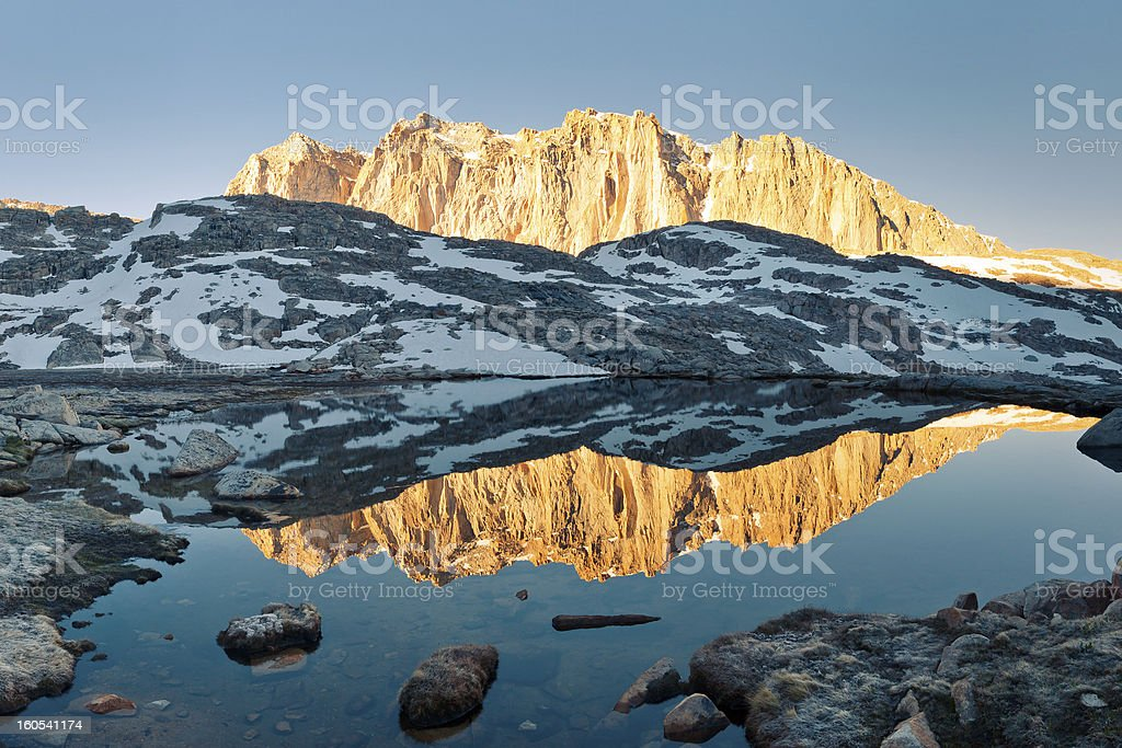 Sierra Nevada Alpenglow Reflection stock photo