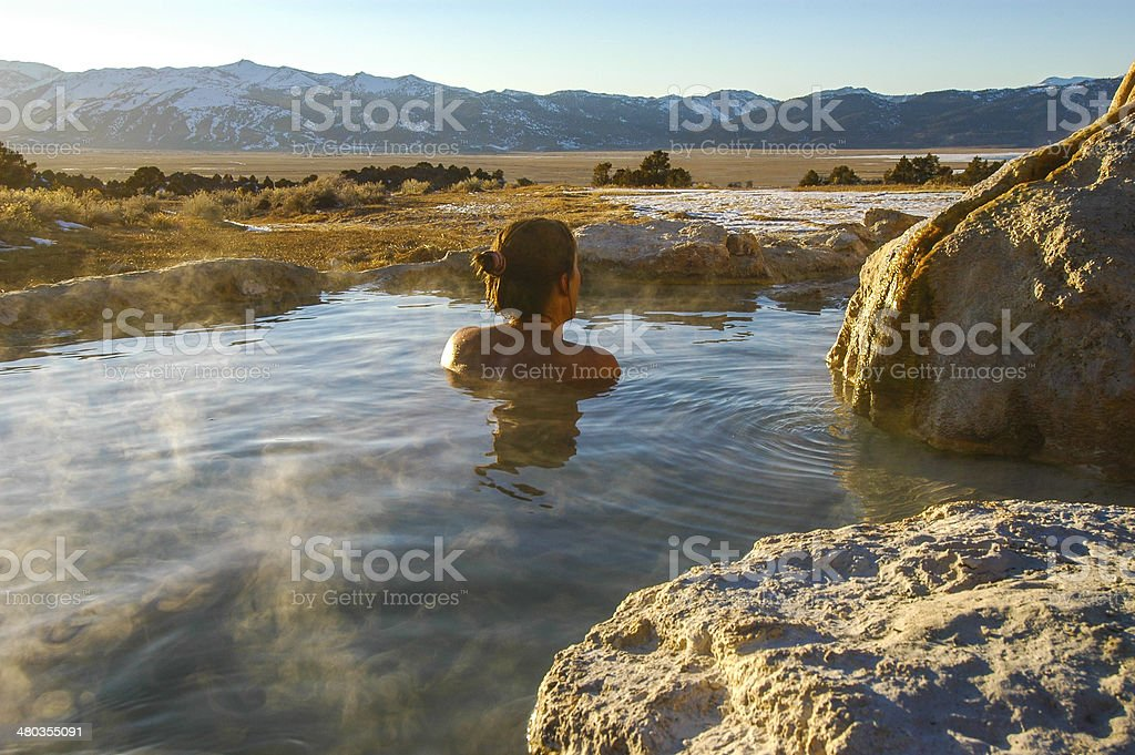 Sierra Nevada Hot Spring View stock photo