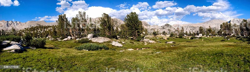 Sierra Nevada Mountain Meadow and Mountain Panoramic stock photo