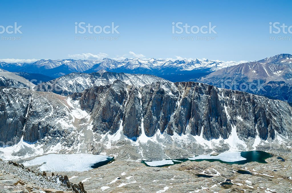 Sierra Nevada scenic view from hiking path to Mount Whitney stock photo