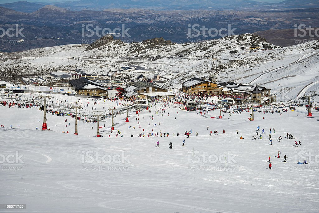 Sierra Nevada winter resort stock photo