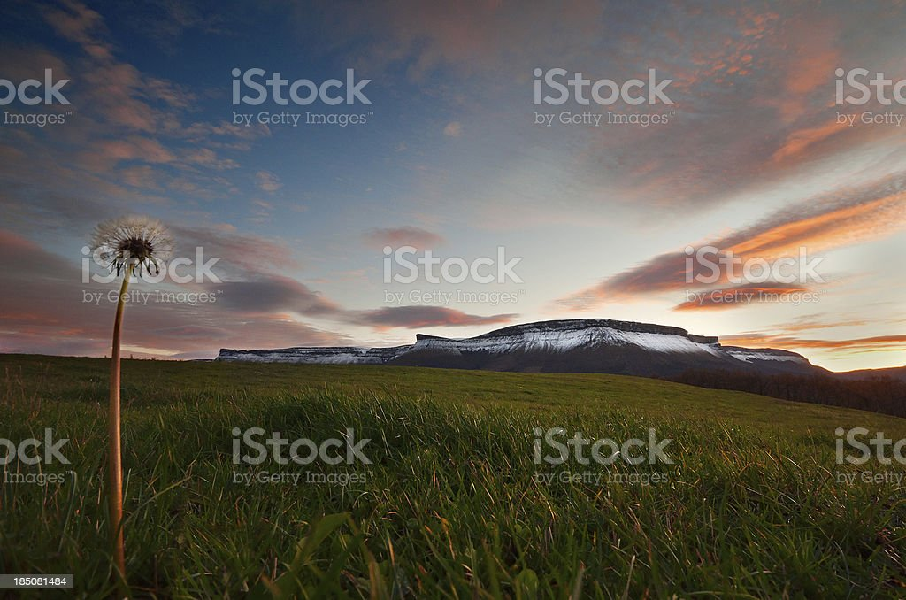 Sierra Salvada mountains with snow at the sunset stock photo