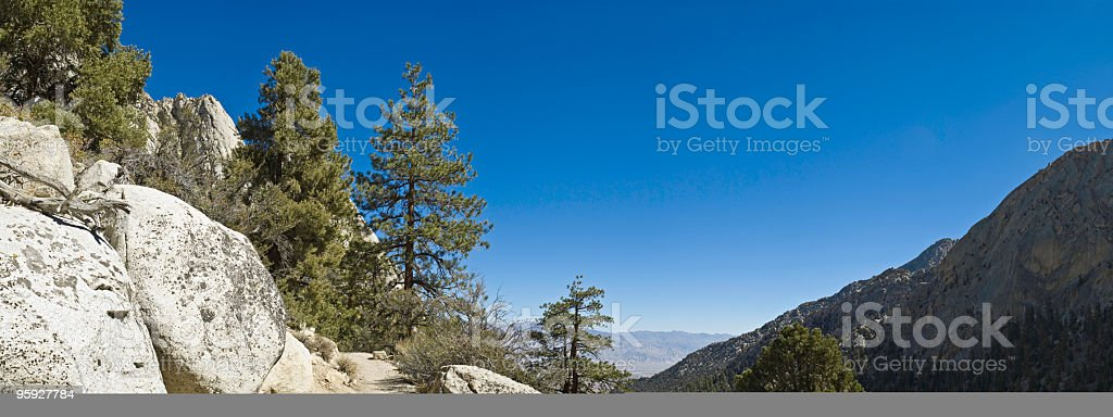 Sierra wilderness trail vista stock photo