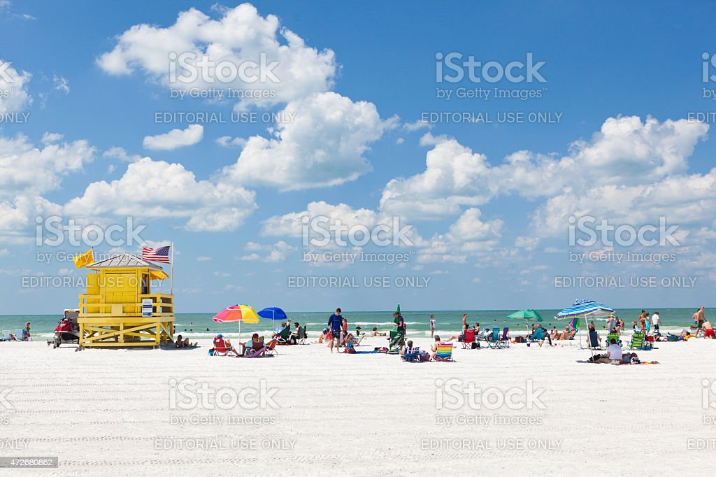Siesta Key Beach of Florida Gulf Coast with Tourists Sunbathers stock photo
