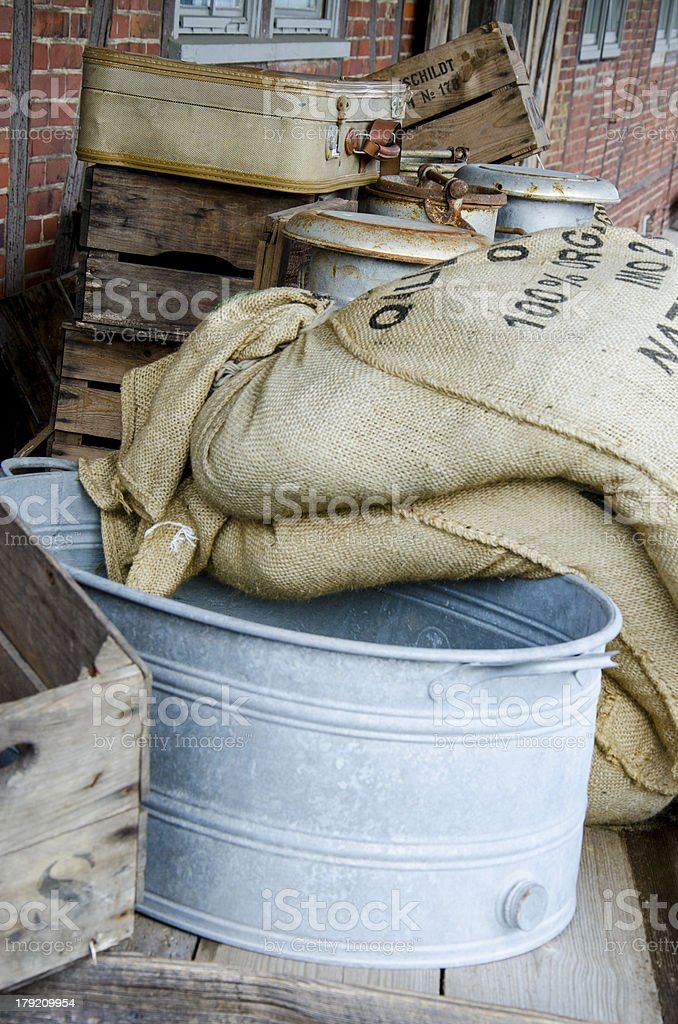 Sieve and grain bags royalty-free stock photo