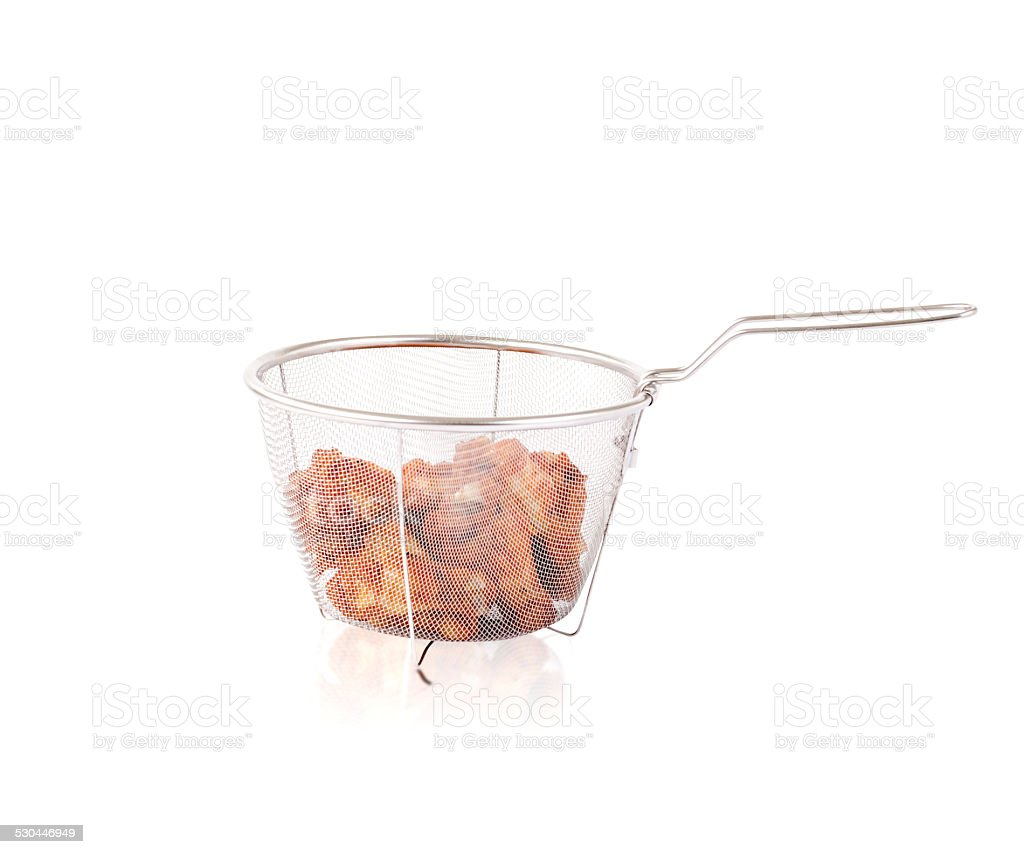 Sieve with fried chicken a kitchenware isolated on white stock photo