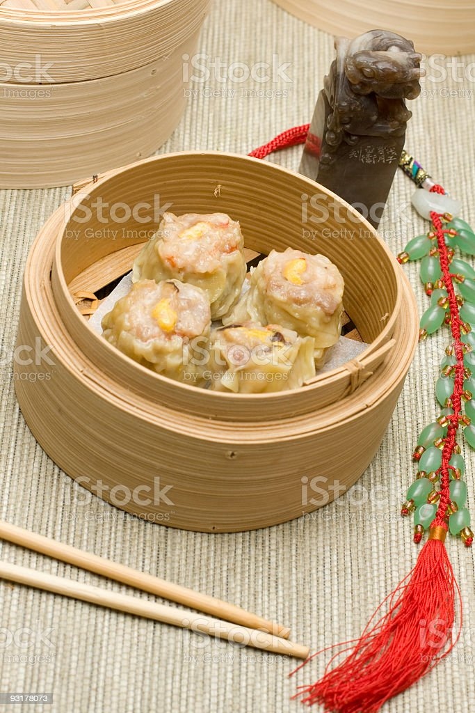 Siewmai Dimsum filled with pork stock photo
