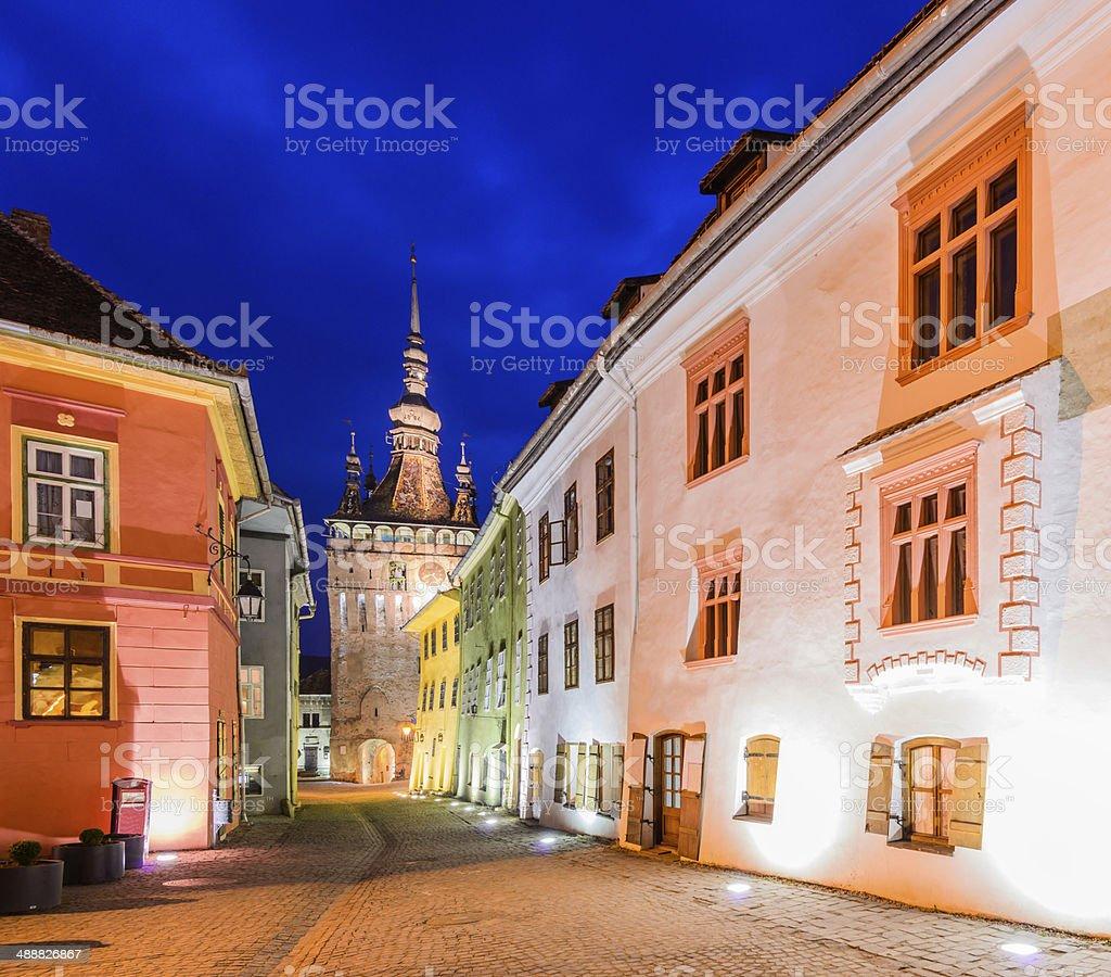 Sighisoara in Transylvania at night stock photo