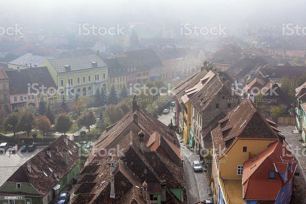 Sighisoara, medieval city, saxon landmark of Transylvania stock photo