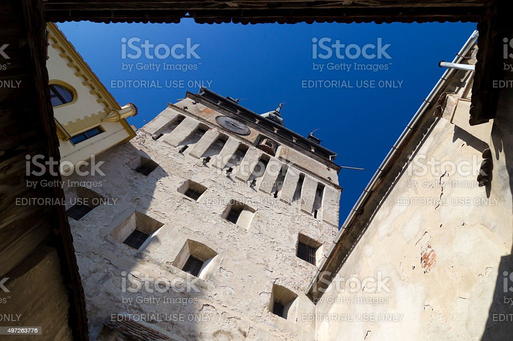 Sighisoara- walls of the Clock Tower stock photo