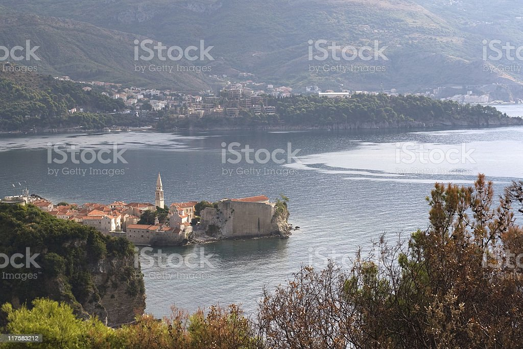 Sight of Budva from the fort stock photo