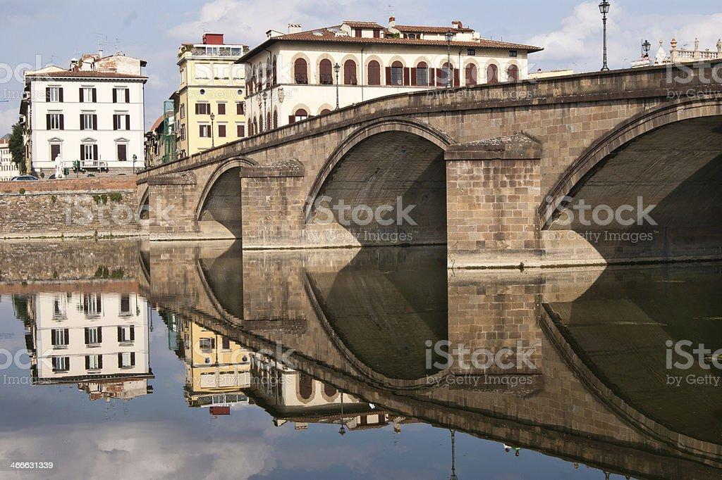 Sight of Ponte alla carraia bridge from Oltrarno stock photo