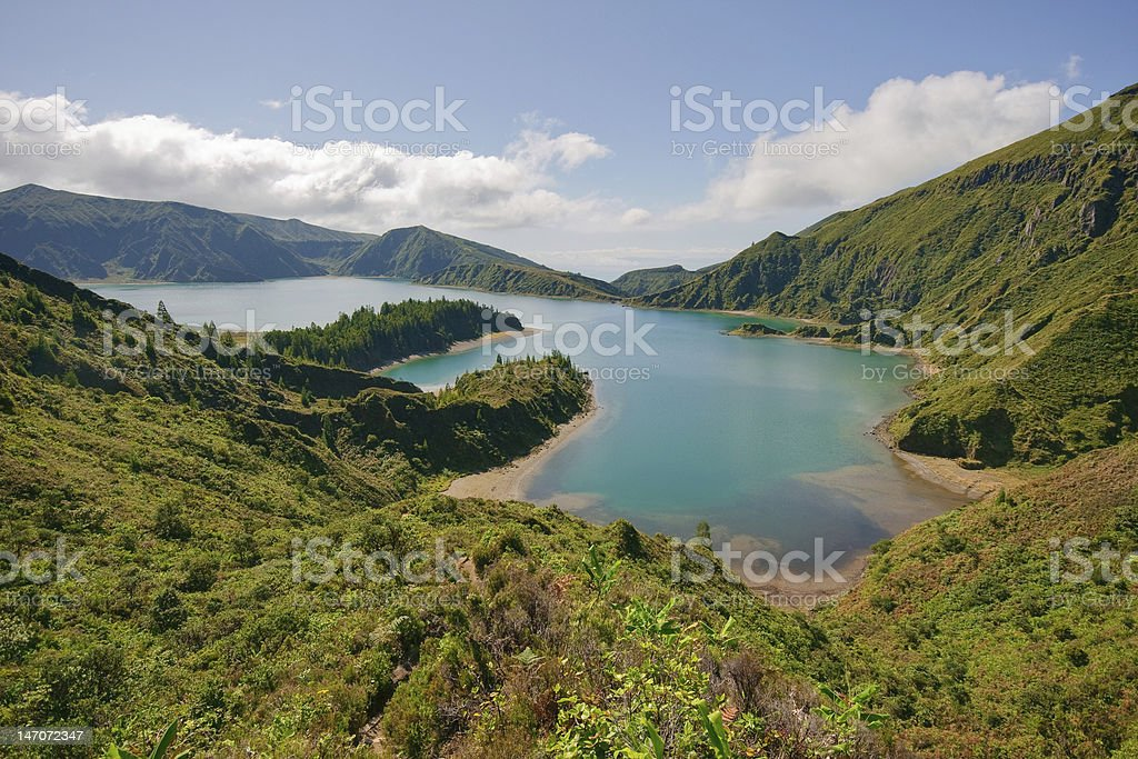 "Sight of the volcanic lake named ""lagoa do fogo"" stock photo"