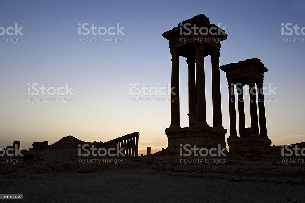 Sightseeing a ruin site in Palmyra, Syria stock photo