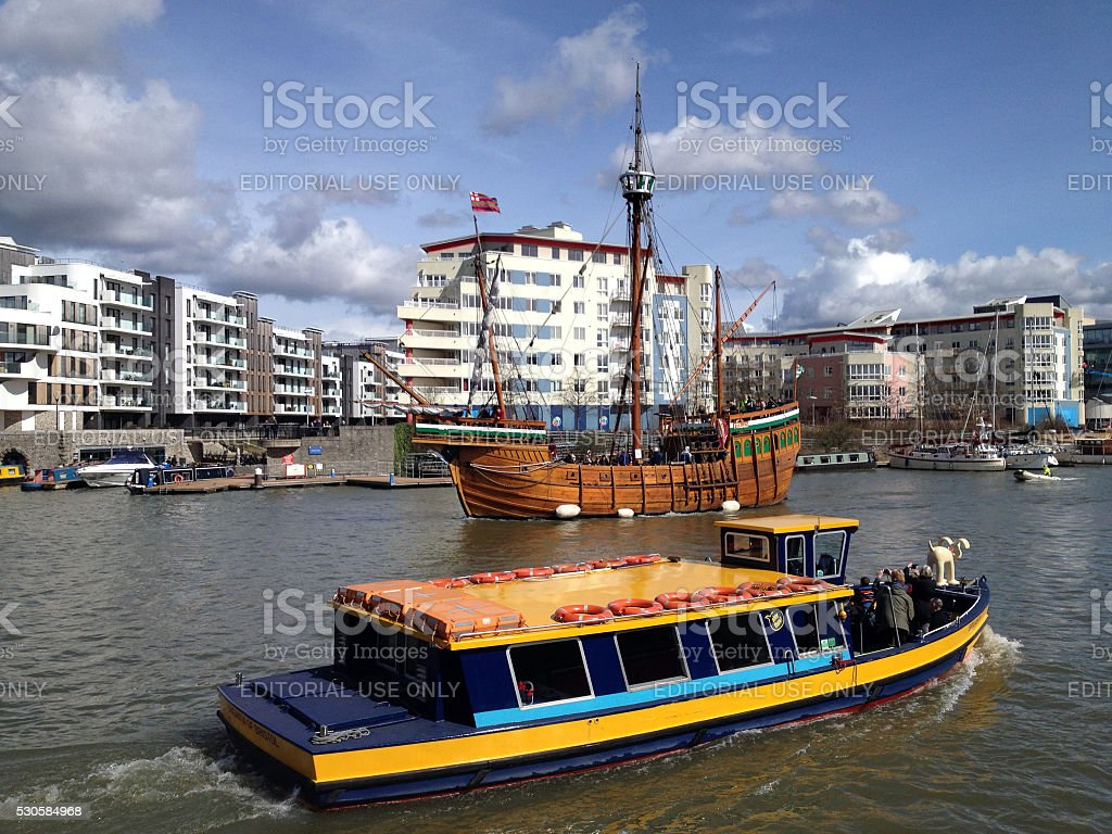 Sightseeing boat and galleon on the River Avon, Bristol harbour stock photo