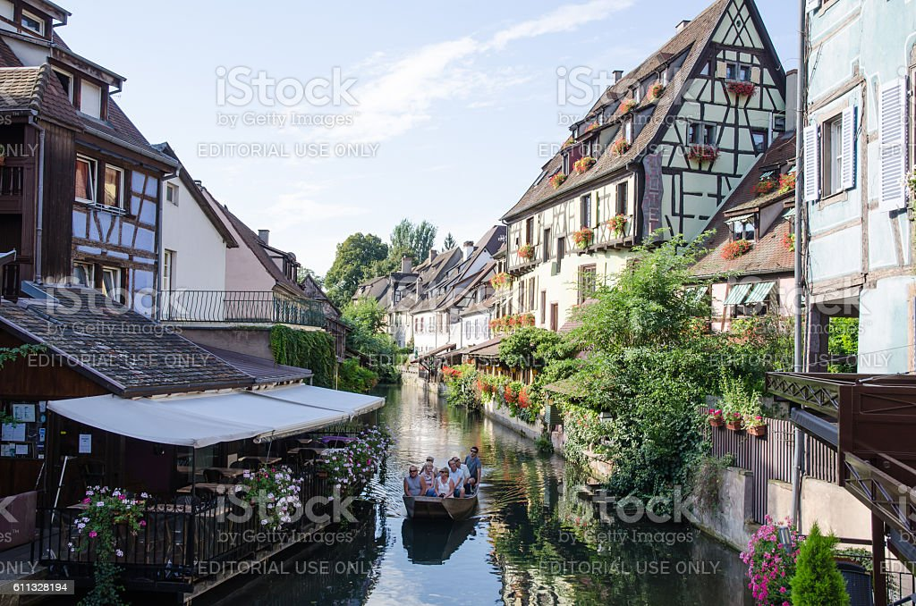 Sightseeing boat at the river in Colmar, France stock photo