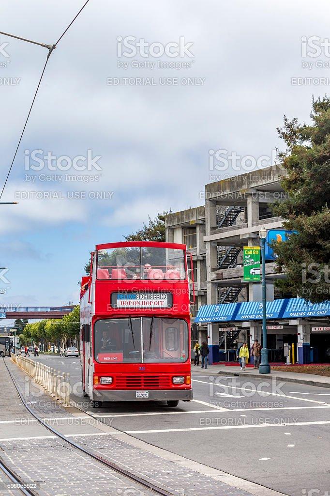 Sightseeing Bus at San Francisco Downtown stock photo