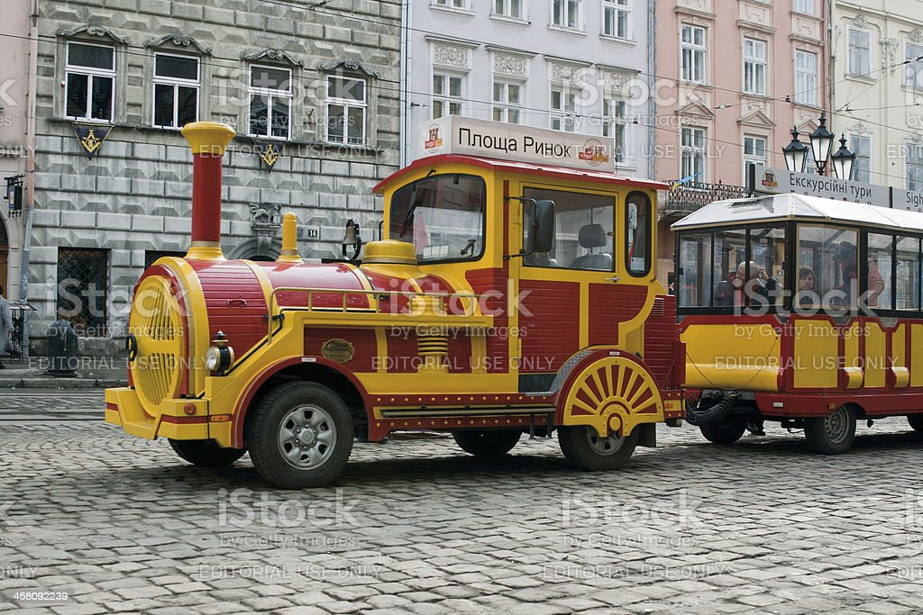 Sightseeing car train in Lviv royalty-free stock photo