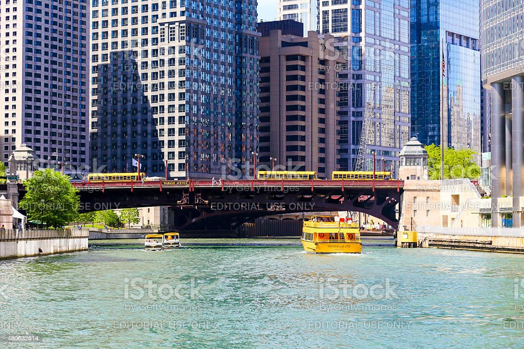 Sightseeing on Chicago River stock photo