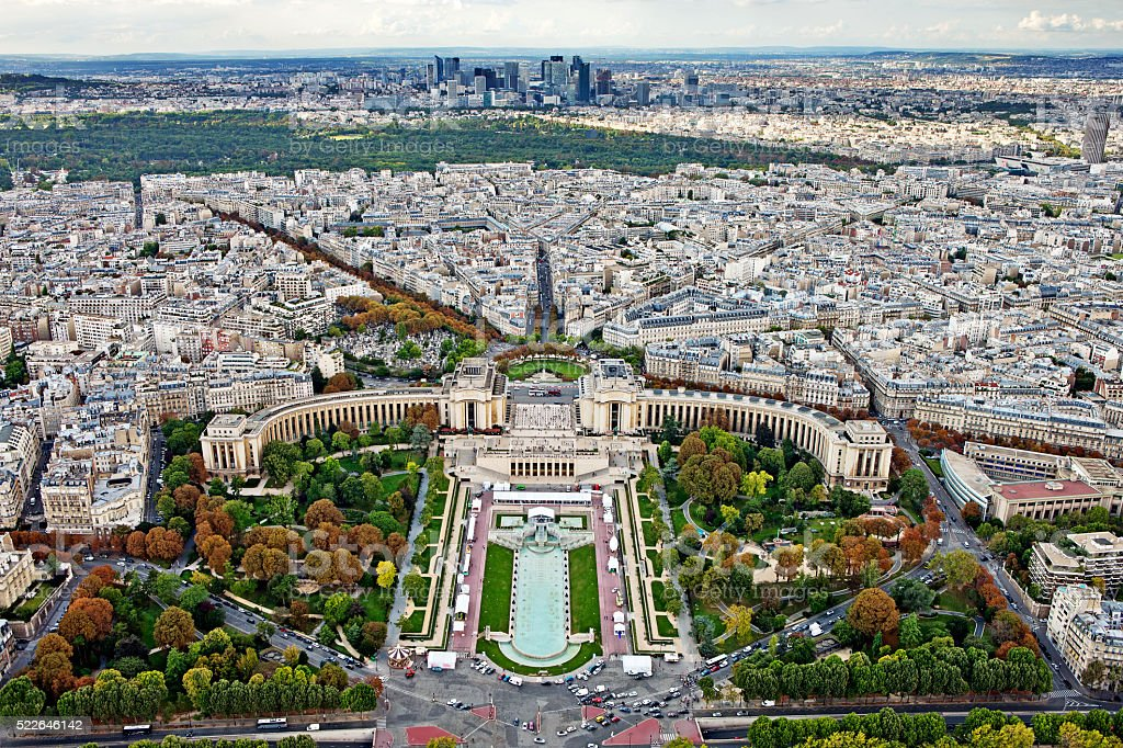 Sightseeing panorama of Paris from the top Eiffel Tower, France. stock photo