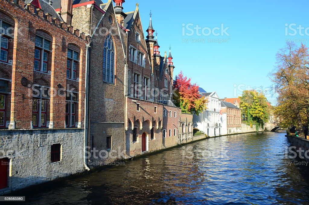 Sightseeing scenery with water canal in Bruges, Belgium stock photo