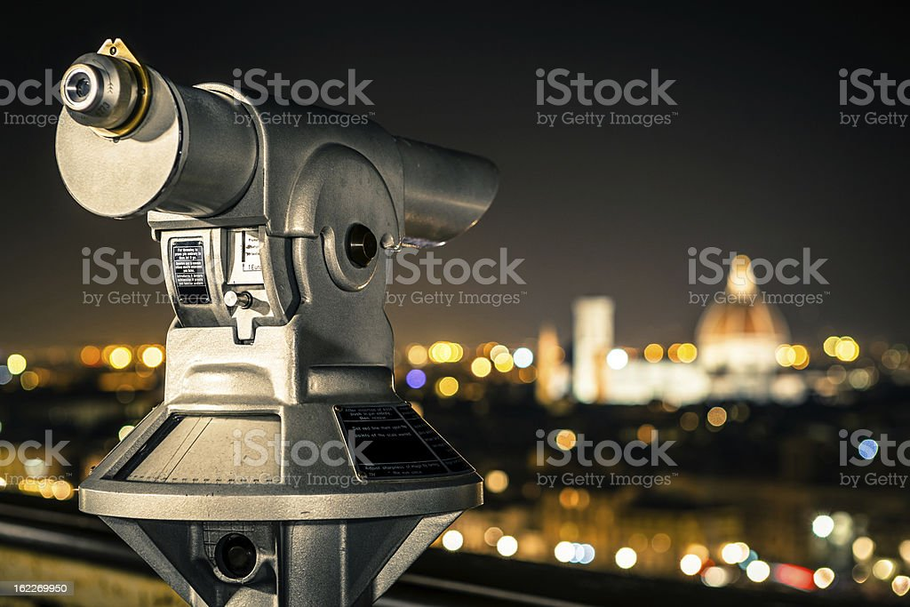 Sightseeing Telescope in Florence by Night, Italian Cityscape royalty-free stock photo