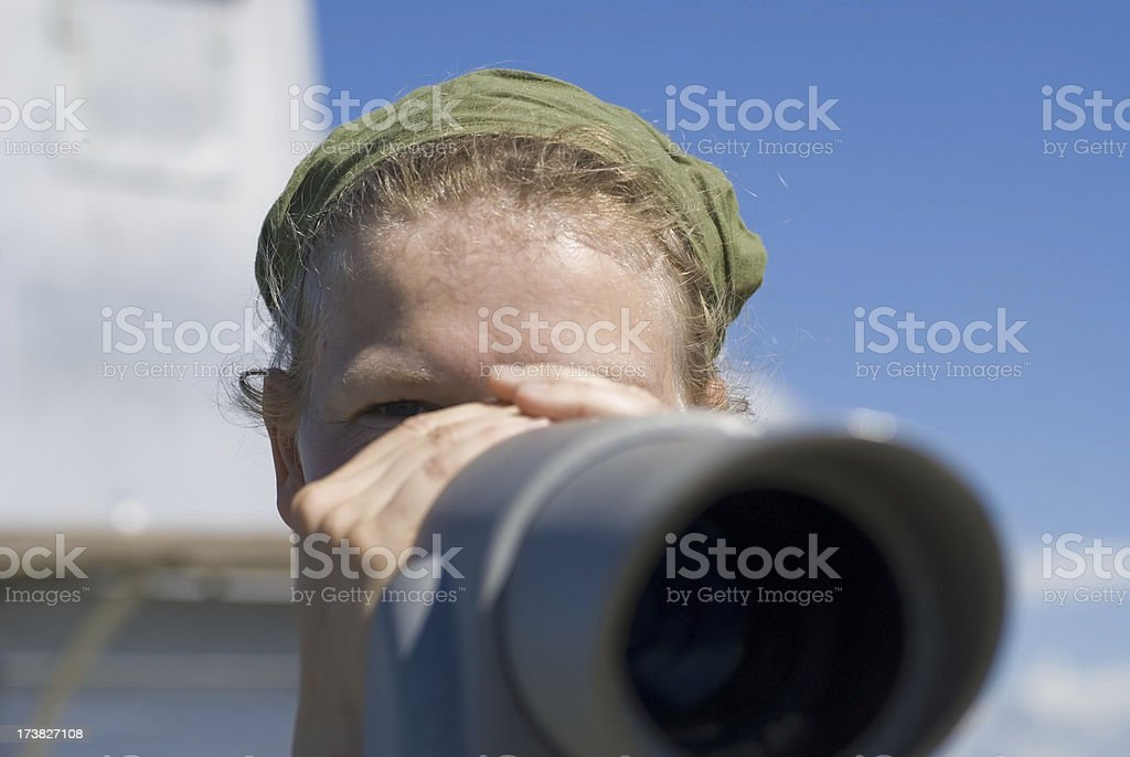 sightseeing through telescope royalty-free stock photo