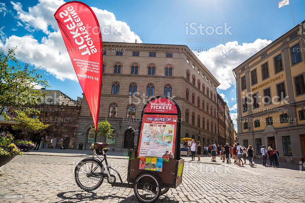 Sightseeing tickets sold in Gamla Stan, Stockholm stock photo