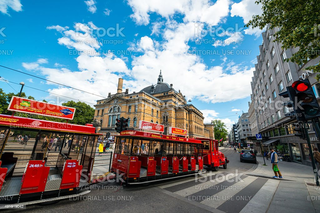 Sightseeing Tour Train in Oslo city center stock photo