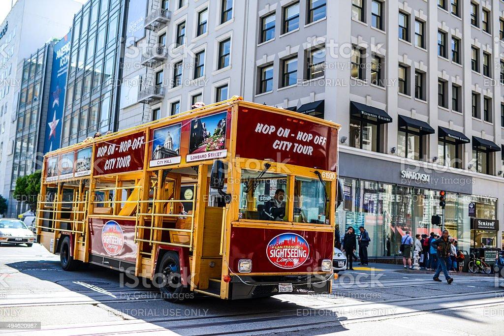Sightseeing Tours Bus on San Francisco street stock photo