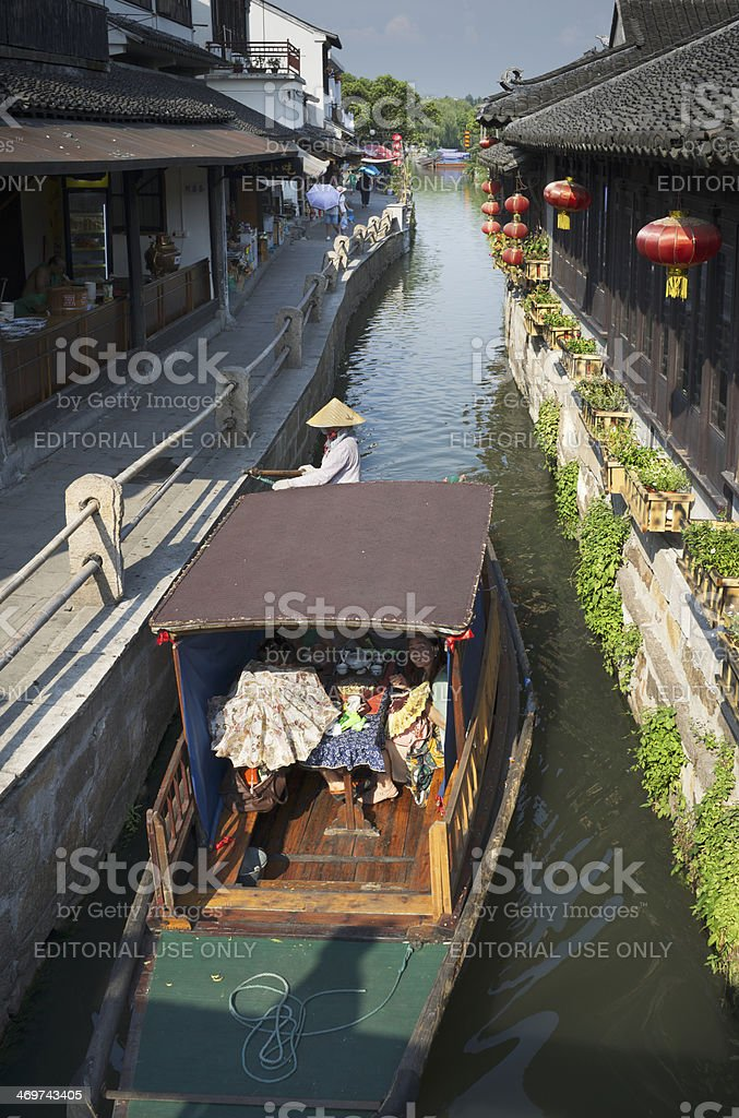 Sightseeing trip with meal in Chinese gondola boat royalty-free stock photo
