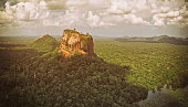 Sigiria Rock and surrounding jungle  aerial view from a helicopter