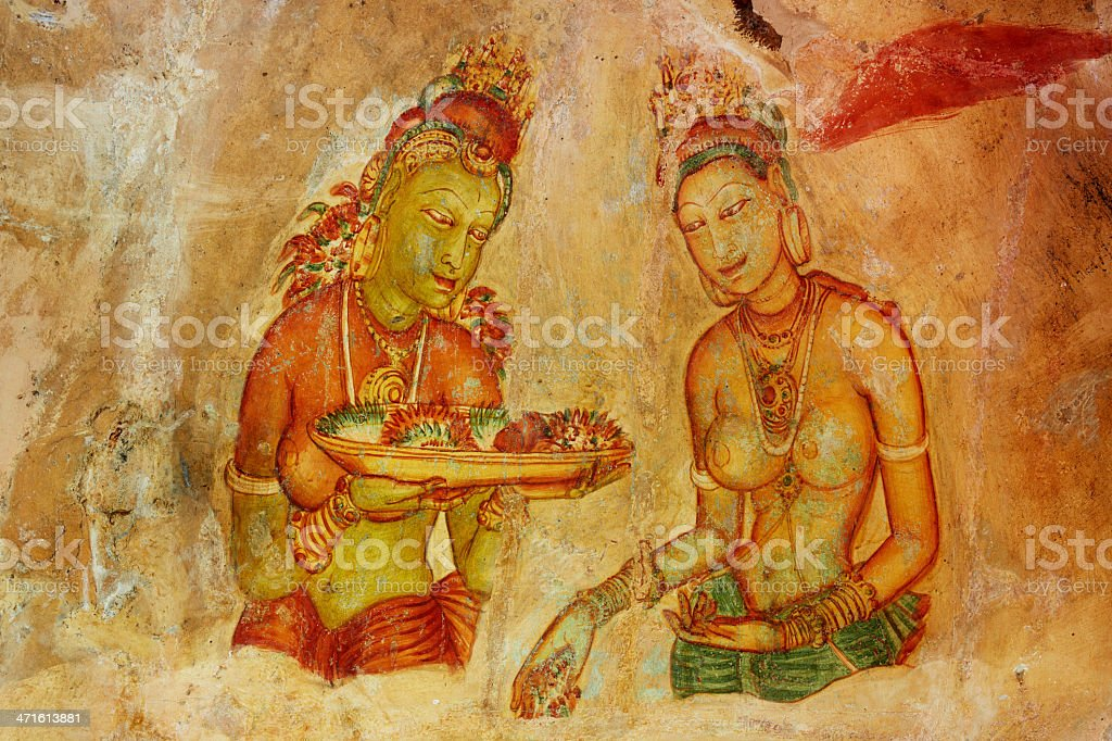 Sigiriya Damsels royalty-free stock photo
