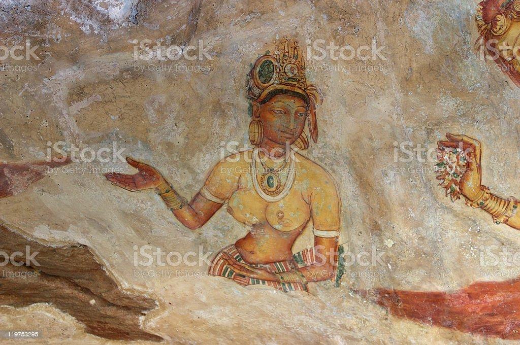 Sigiriya Fresco royalty-free stock photo