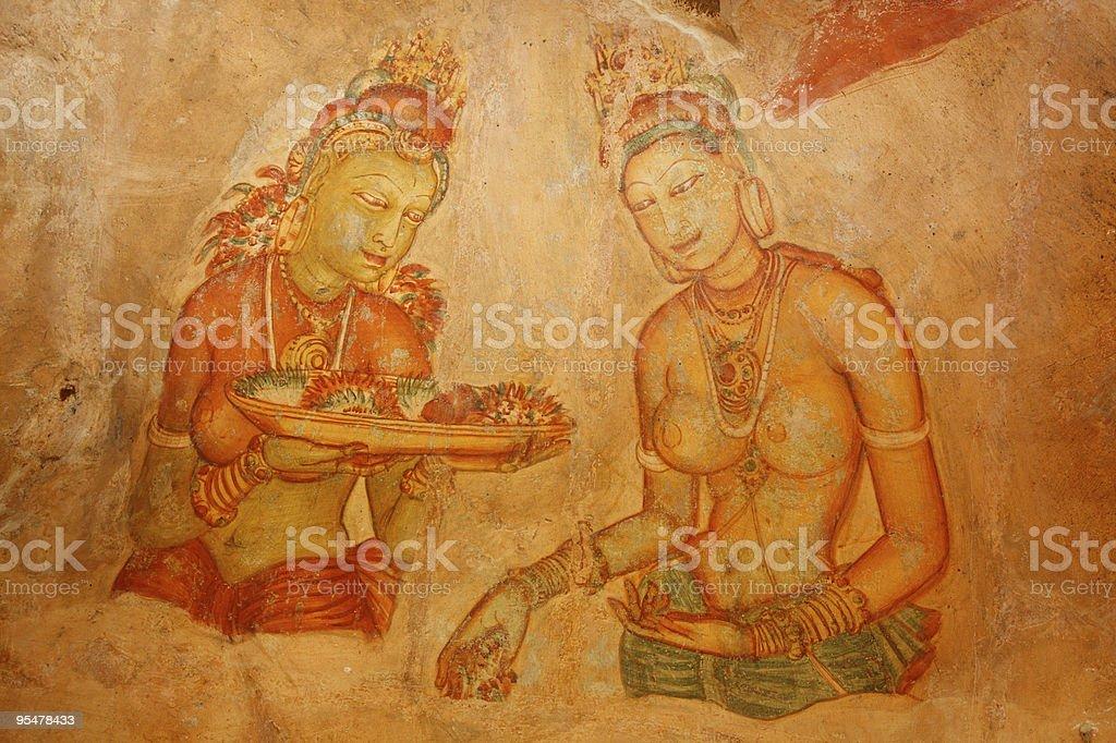 Sigiriya frescoes royalty-free stock photo