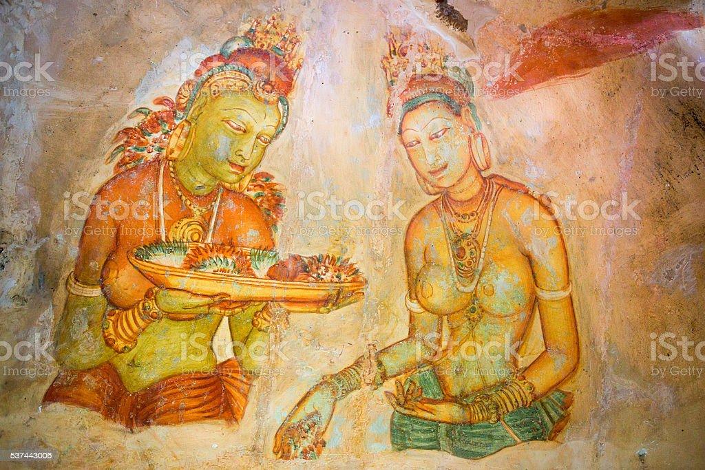 Sigiriya murals of 5th century stock photo