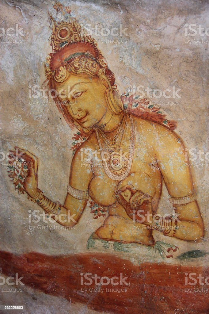 Sigiriya, Wall painting, Sri Lanka stock photo