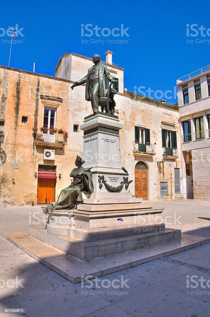 Sigismondo Castromediano bronze statue. Lecce. Puglia. Italy. royalty-free stock photo
