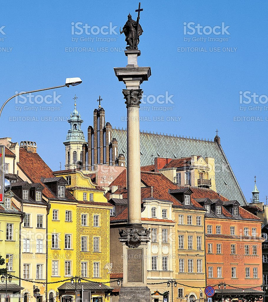 Sigismund column in the Old Town in Warsaw, Poland. stock photo