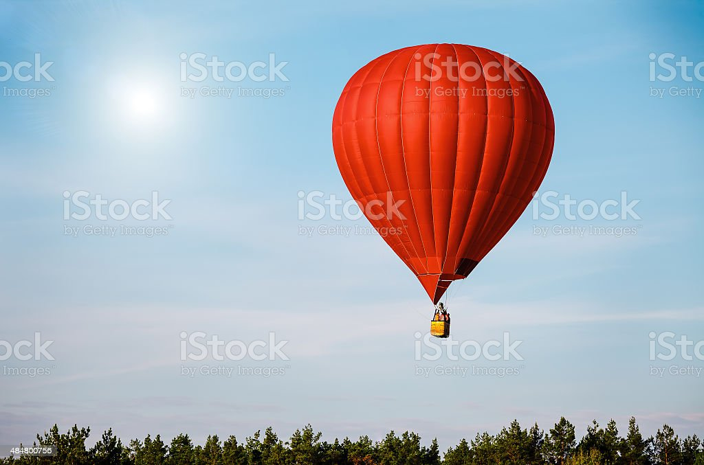 Sigle air balloon in blue sky stock photo