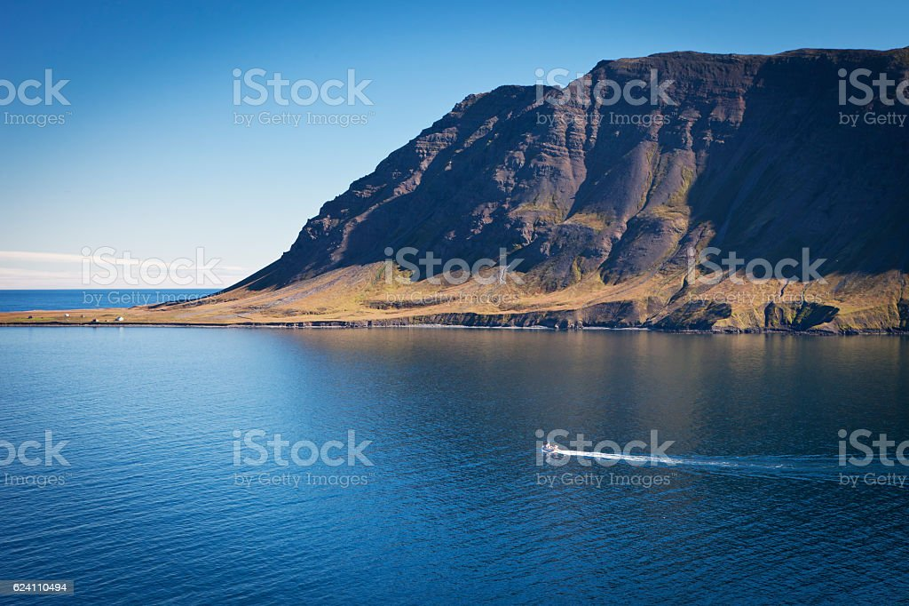 Siglufjordur fjord stock photo