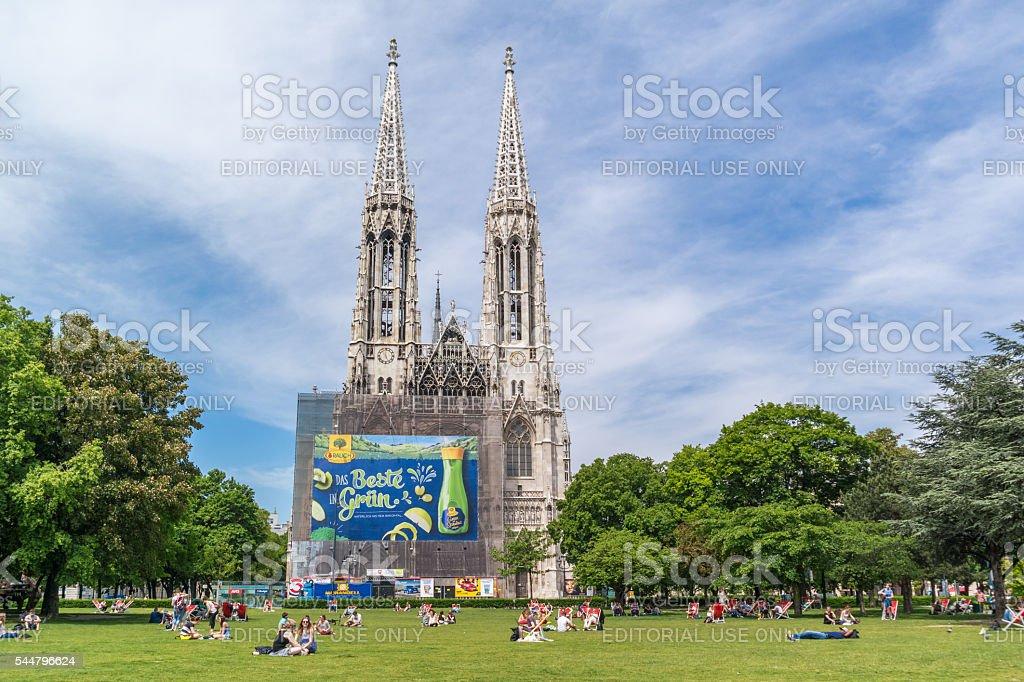 Sigmund Freud Park and Votiv Church in Vienna, Austria stock photo