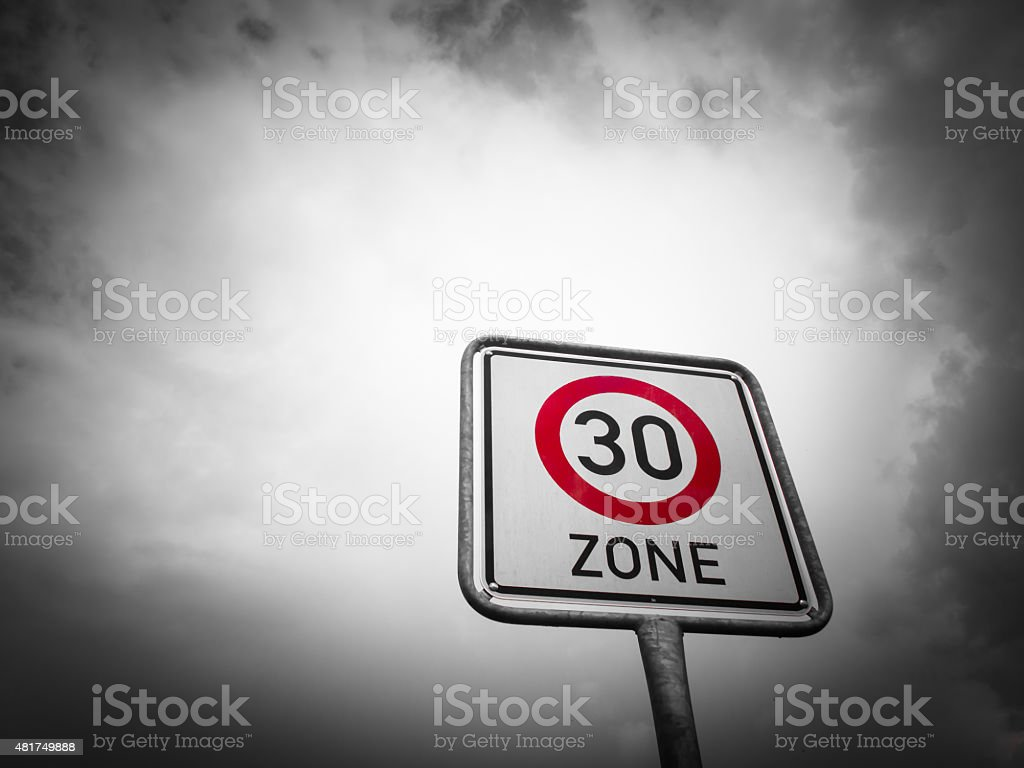Sign 30 zone  speed limit stock photo