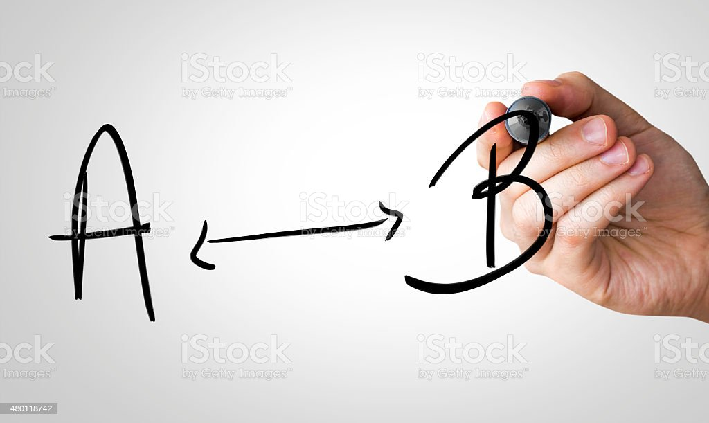 Sign A - B written on the Wipe board stock photo