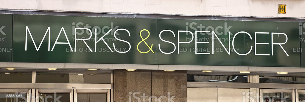 Sign above a Marks and Spencer Shop in Glasgow stock photo
