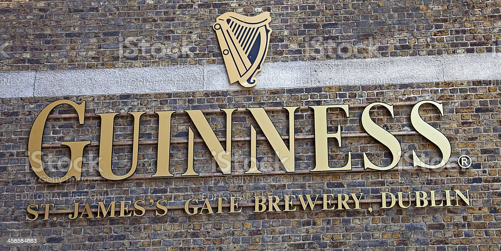 Sign above entrance to the Guiness Brewery, Dublin stock photo