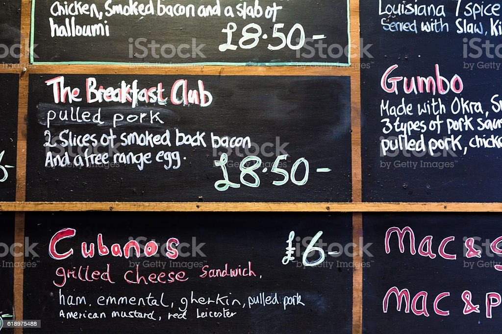 Sign advertising breakfast, Gumbo and pulled pork at Borough Market stock photo