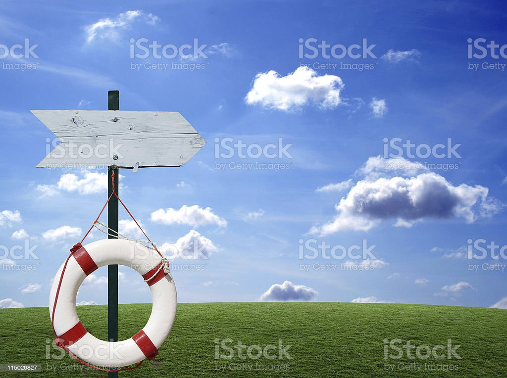Sign and Buoy royalty-free stock photo