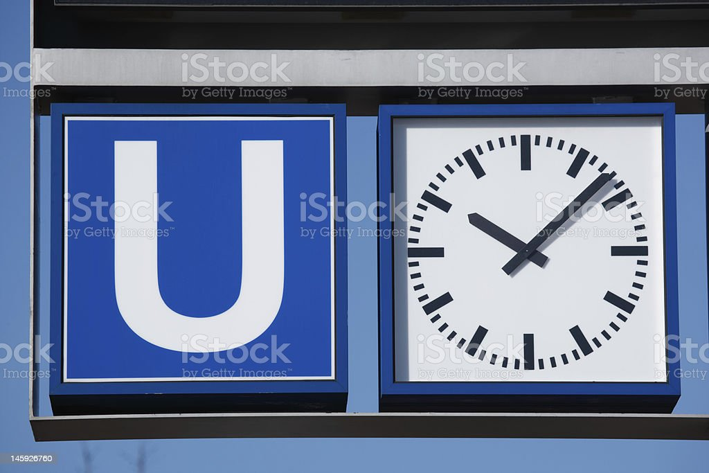 sign and clock (XXL) stock photo
