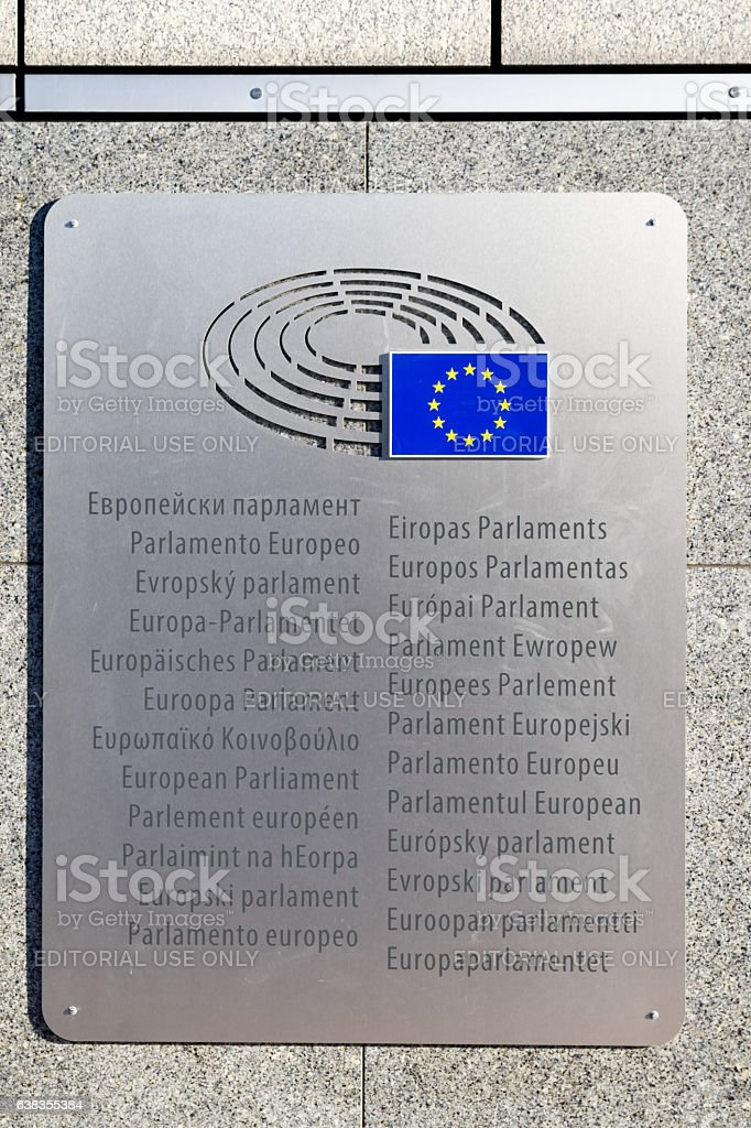 Brussels, Belgium - December 30, 2016: Sign and EU flag stock photo